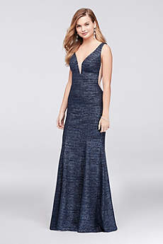 Plunge V-Neck Glitter Knit Mermaid Gown