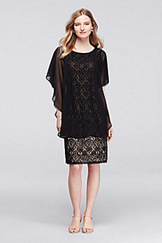 Knee Length Sheath Dress with Flowy Capelet 9621DB