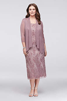 Tea Length Sheath Jacket Cocktail and Party Dress -