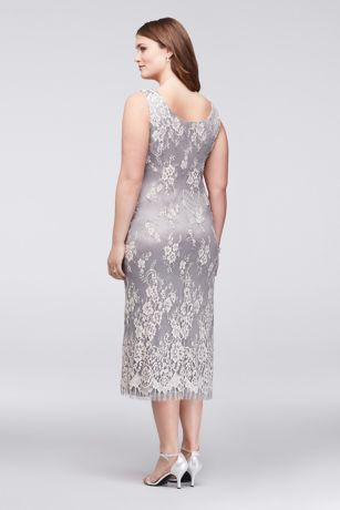 Lace plus size midi dress with chiffon jacket david 39 s bridal for Plus size midi dresses for weddings