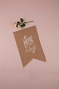 Burlap Script Here Comes The Bride Ceremony Sign 9718