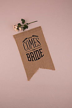Burlap Print Here Comes The Bride Ceremony Sign 9719