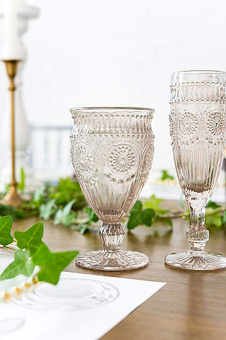 Wedding decorations dcor davids bridal short vintage pressed glass goblet junglespirit Gallery