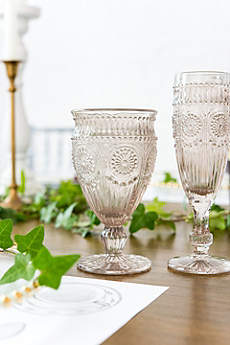 Short Vintage Pressed Glass Goblet