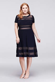 Illusion Stripe A-Line Plus Size Short Dress