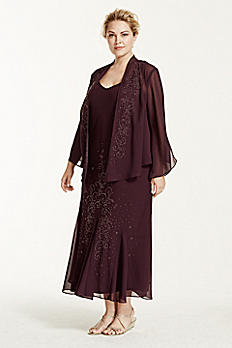 3/4 Sleeve Georgette Beaded Jacket Dress 99713