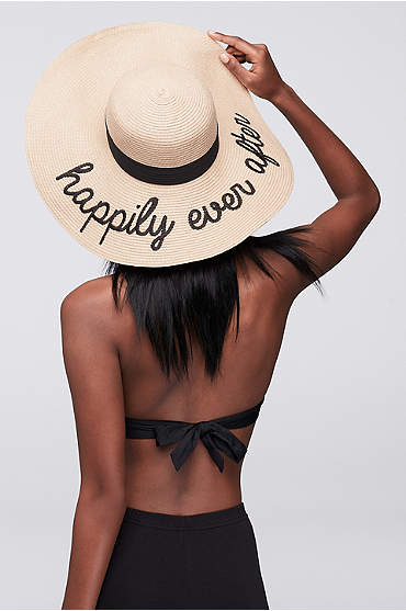 Happily Ever After embroidered straw floppy sun hat