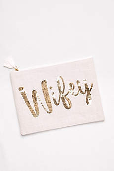Sequined Canvas Wifey Clutch