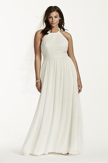 Dotted Chiffon Aline Gown with Halter Neckline 9KP3697