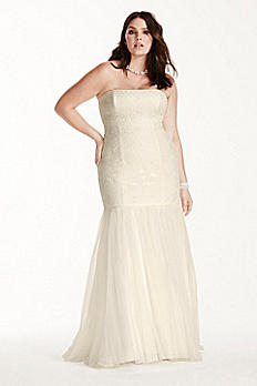 Lace Plus Size Wedding Dress with Tulle Skirt 9KP3765