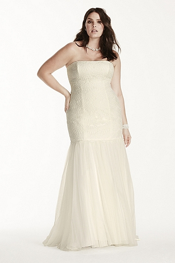 Strapless Lace Trumpet Gown with Tulle Skirt 9KP3765