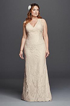 V-Neck Plus Size Wedding Dress with Empire Waist 9KP3803
