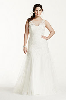 Illusion Neck Deep V Back Plus Size Wedding Dress 9MK3718