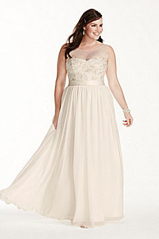 Illusion Tank Plus Size Wedding Dress with Lace 9MK3747