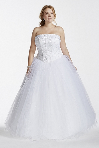 Strapless Tulle Ball Gown with Beaded Satin Bodice 9NT8017