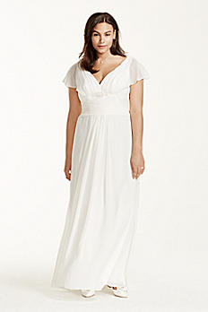 Flutter Sleeve Chiffon Plus Size Wedding Dress 9OP1233