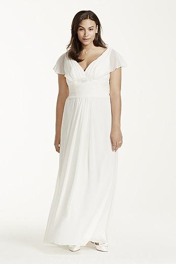 Flutter Sleeve Chiffon Plus Size Wedding Dress 9OP1233