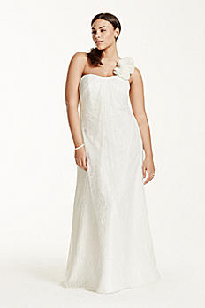 One Shoulder Sheath Lace Plus Size Wedding Dress 9OP1236