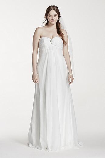 Strapless Empire Waist Plus Size Wedding Dress 9OP1239
