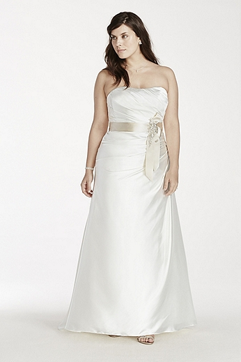 Strapless Charmeuse A Line Gown with Side Draping 9OP1242