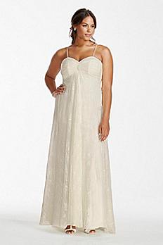 Spaghetti Strap Lace Plus Size Wedding Dress 9OP1248