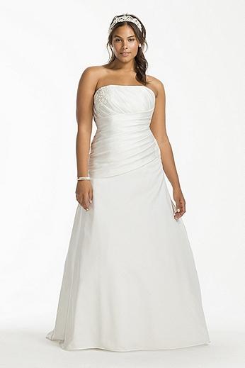 Satin Drop Waist A-Line Plus Size Wedding Dress 9OP1255