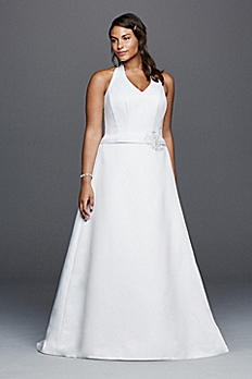 Halter V-neck Plus Size Wedding Dress with Flower 9OP1258