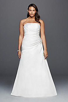Strapless Ruched Plus Size Wedding Dress with Lace 9OP1259