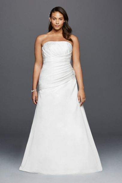 Strapless Ruched Plus Size Wedding Dress with Lace Davids Bridal