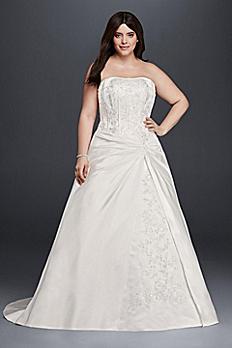 Draped A-Line Plus Size Strapless Wedding Dress 9OP1261