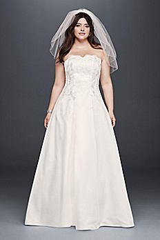 Appliqued Satin A-Line Plus Size Wedding Dress 9OP1262