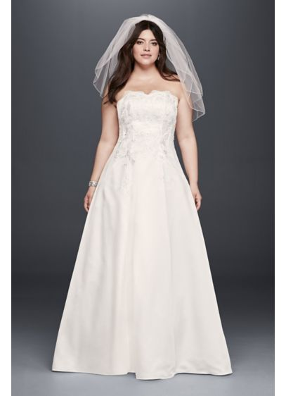 Appliqued Satin A-Line Plus Size Wedding Dress   David\'s Bridal