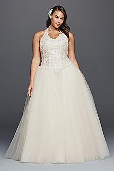 Tulle Halter Basque Waist Plus Size Wedding Dress 9OP1273