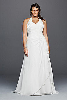 Halter Crinkle Chiffon Plus Size Wedding Dress 9OP1275