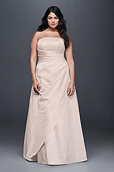 Gathered Satin A-Line Plus Size Wedding Dress 9OP1281
