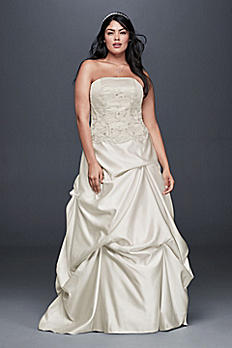 Embroidered Satin Plus Size Wedding Dress 9OP1303