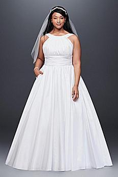 High-Neck Taffeta Plus Size Wedding Ball Gown 9OP1315