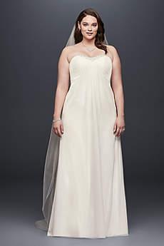 Strapless Pleated Chiffon Plus Size Wedding Dress