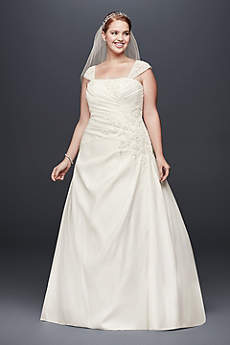 Appliqued Satin Cap Sleeve Plus Size Wedding Dress