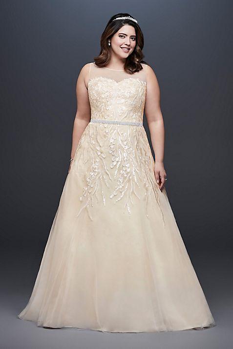 Sequin Vines Plus Size Ball Gown Wedding Dress | David\'s Bridal