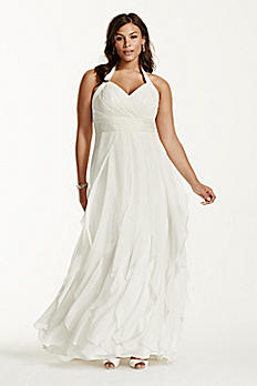Chiffon Halter Ruffled Plus Size Wedding Dress 9PK3218