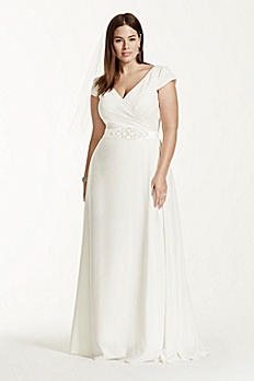 Cap Sleeve Plus Size Wedding Dress with Sash 9SDWG0122