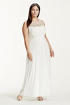 Mesh A-line with Allover Beaded Illusion Neckline 9SDWG0153