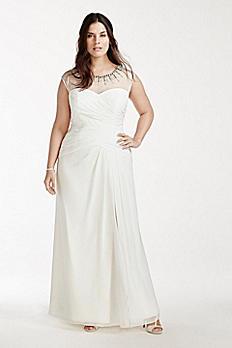 Chiffon Plus Size Wedding Dress with Beaded Neck 9SDWG0161