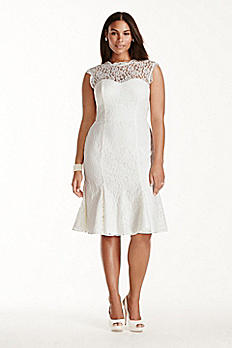 Lace Cap Sleeve Plus Size Short Wedding Dress 9SDWG0207