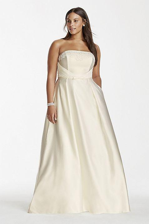 Satin A-line Plus Size Wedding Dress with Pockets | David\'s Bridal