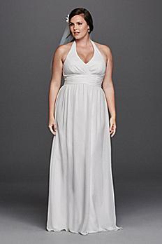 Chiffon Sheath Halter Plus Size Wedding Dress 9SDWG0394