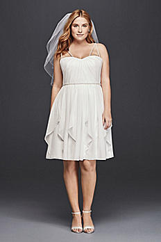 Short Plus Size Wedding Dress with Frilly Skirt 9SDWG0401