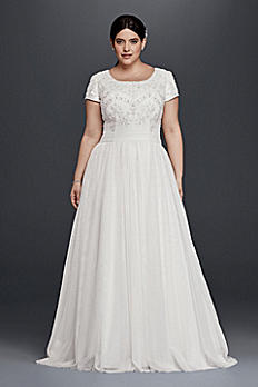 Modest Short Sleeve Plus Size A-Line Wedding Dress 9SLWG3811