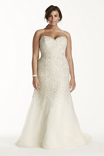 Strapless Crystal Beaded Tulle Fit and Flare Gown 9SWG688